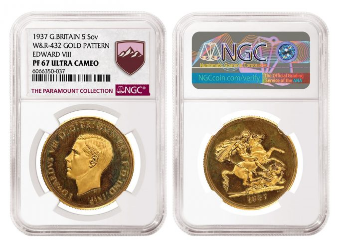 1937 Edward VIII Gold Pattern 5 Sovereign graded NGC PF 67 Ultra Cameo