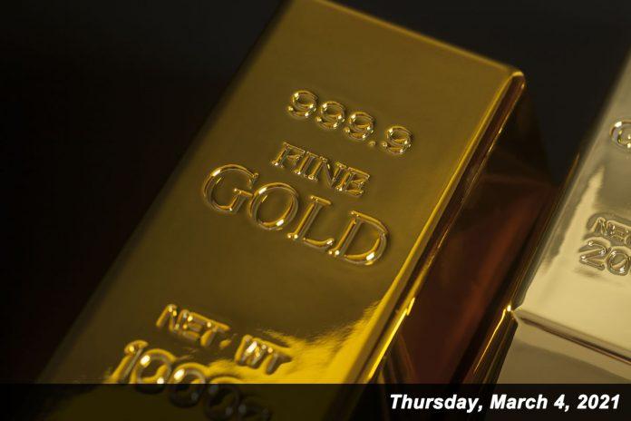 9999 fine gold bar March 4, 2021