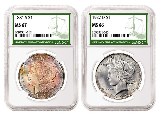 Examples of Morgan and Peace Dollars with NGC Green Label
