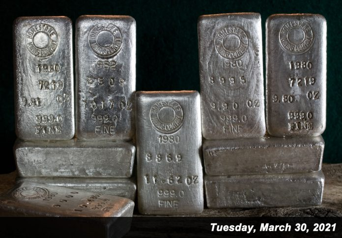 Silver prices ended at their lowest level since Dec. 14