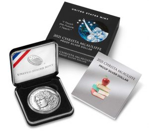 U.S. Mint product images of a 2021-P Proof Christa McAuliffe Silver Dollar