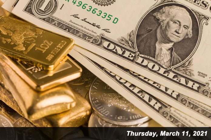 gold bars, silver eagles, dollars Mar 11,2021
