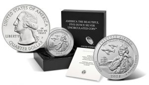 2021-P Tuskegee Airmen National Historic Site Five Ounce Silver Uncirculated Coin and Packaging