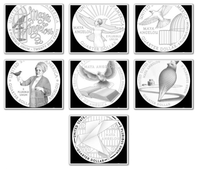 U.S. Mint images of the reverse candidate designs for the 2022 Maya Angelou Quarter