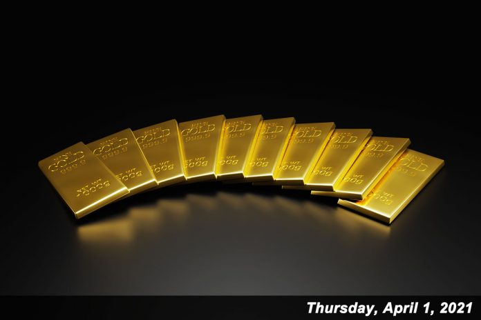 Gold prices rose for a second day in a row Thursday