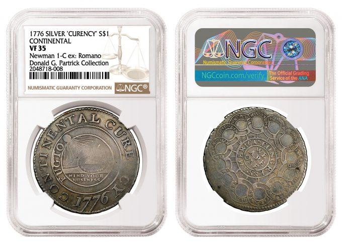 Silver 1776 Continental Dollar graded NGC VF 35