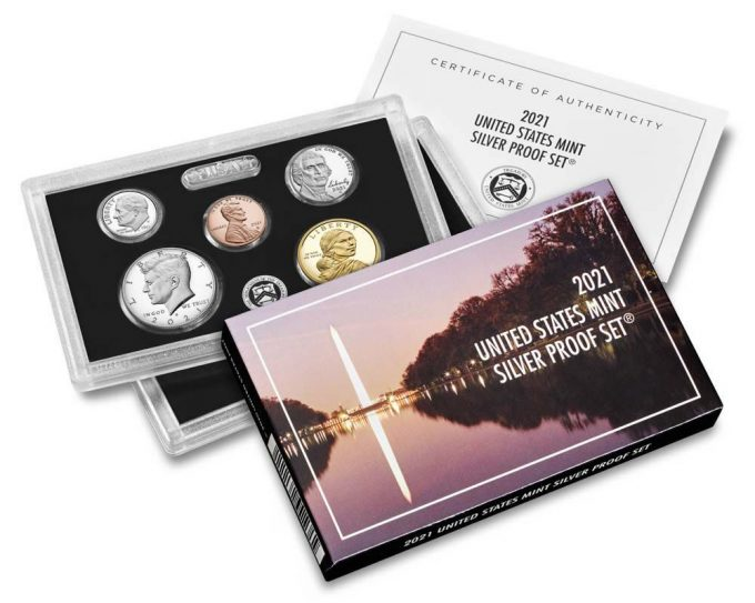 U.S. Mint product images of the 2021 Silver Proof Set