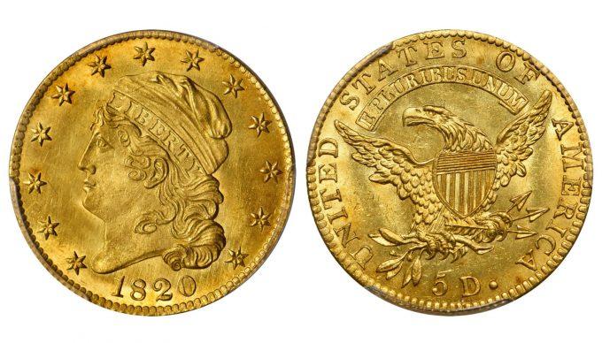 1820 Capped Head Left Half Eagle