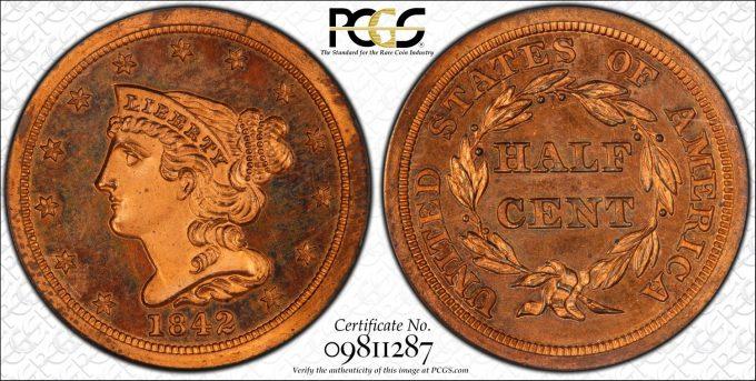 1842 Proof Half Cent