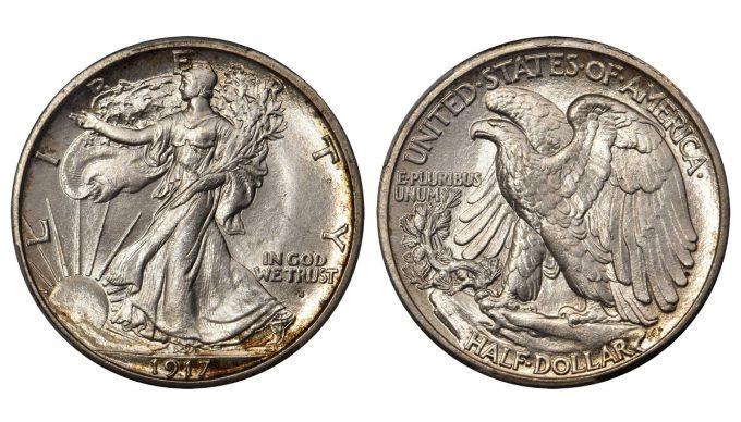 1917-S Walking Liberty Half Dollar. Obverse Mintmark. MS-66 (PCGS)
