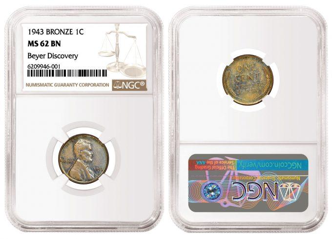 1943 Bronze Cent, graded NGC MS 62 BN