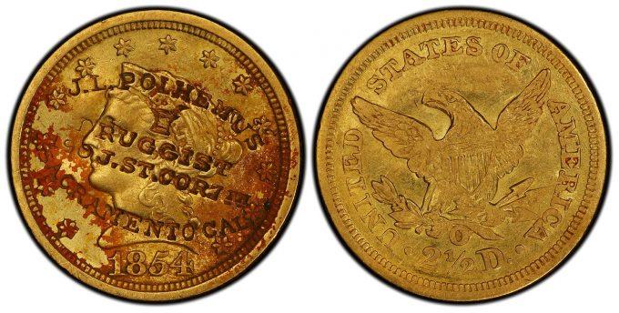1854 New Orleans Quarter Eagle gold coin