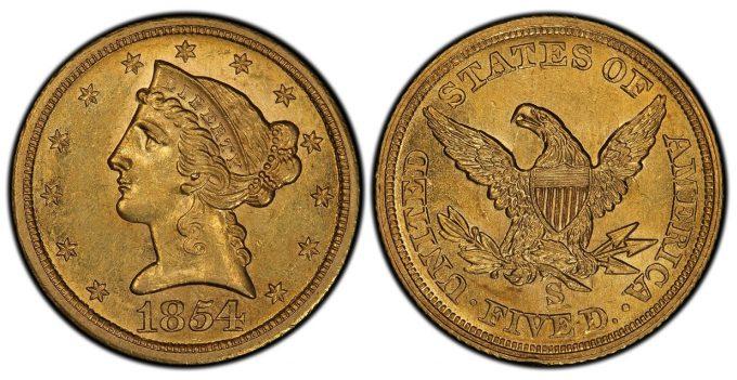1854-S Liberty Half Eagle