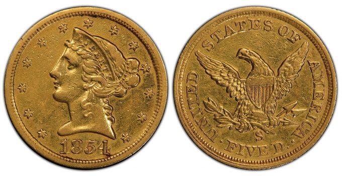 1854-S Liberty Half Eagle,a