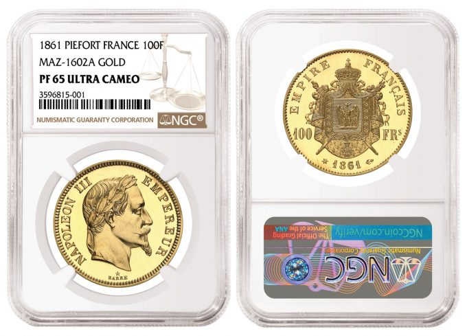1861 Piefort Gold 100 Francs graded NGC PF 65 Ultra Cameo