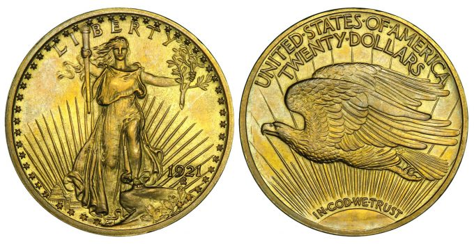 1921 Roman Finish proof Saint-Gaudens Double Eagle
