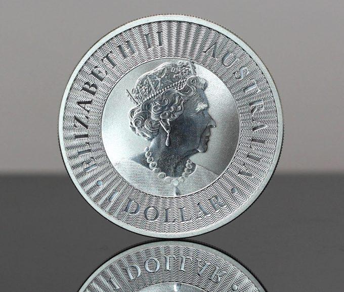 A CoinNews photo of a 2021 Australian Kangaroo 1oz Silver Bullion Coin (obverse or heads side)