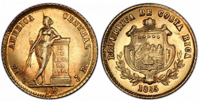 Costa Rica 1855 JB Half Escudo