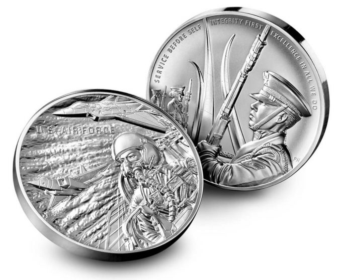 U.S. Mint images Air Force Silver Medal - obverse and reverse