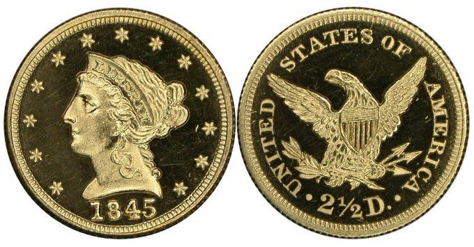 1845 $2.50 NGC PF67 Cameo