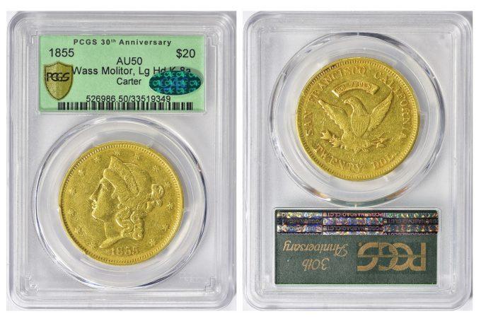 1855 Wass Molitor Twenty Dollar gold coin