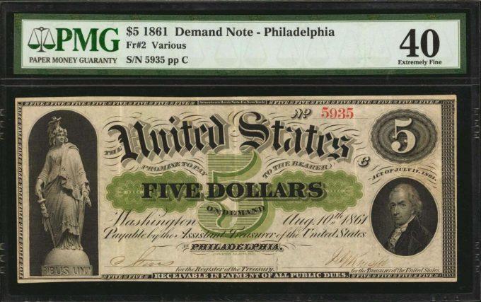 1861 $5 Demand Note