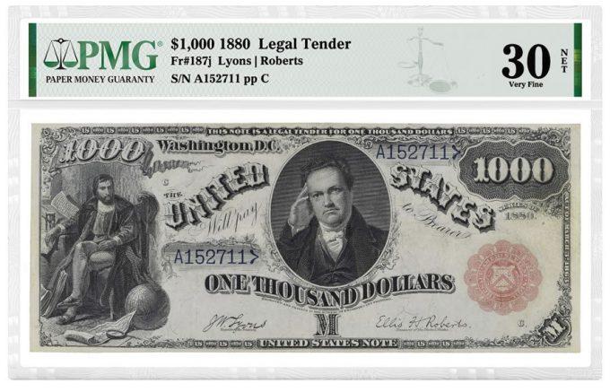 1880 $1,000 Legal Tender Note graded PMG 30 Very Fine NET