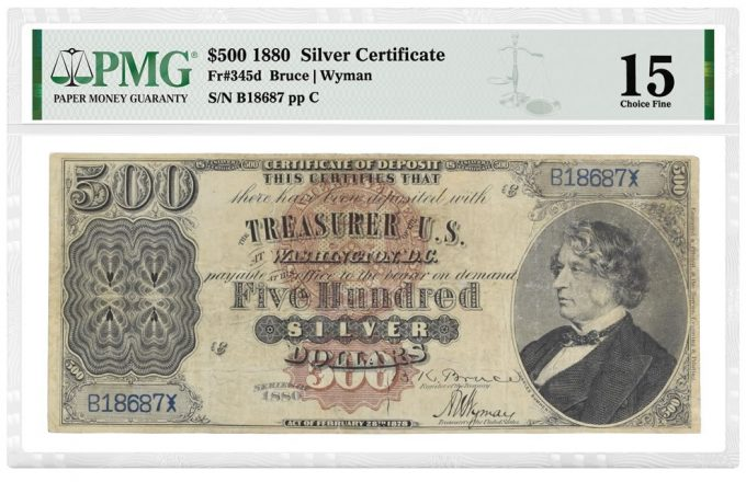 1880 $500 Silver Certificate graded PMG 15 Choice Fine - front