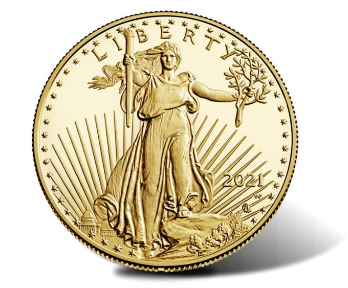Obverse or heads side of a 2021-W Proof American Gold Eagle  (Type 2 design)