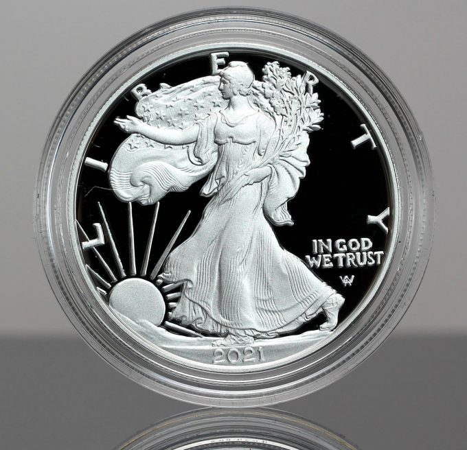Type 2, 2021-W Proof American Silver Eagle (obverse)