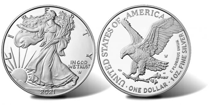 Type 2 2021-W Proof American Silver Eagle (obverse and reverse)