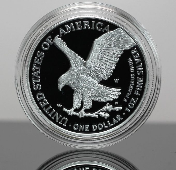 Type 2, 2021-W Proof American Silver Eagle (reverse)