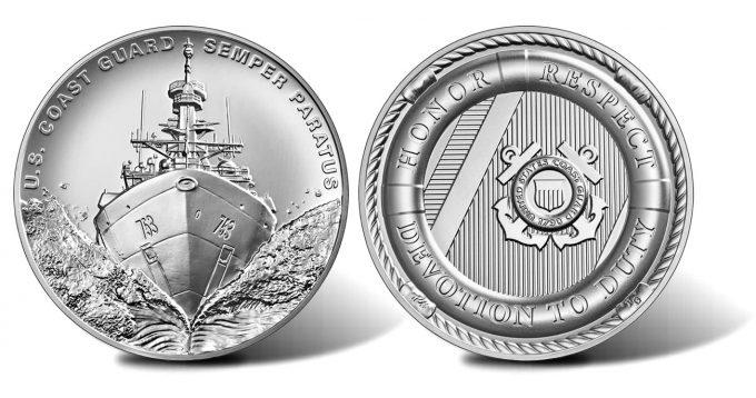 U.S. Coast Guard 2.5 oz Silver Medal - obverse and reverse
