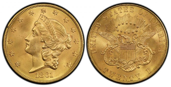 1861 Paquet $20 PCGS MS67 CAC