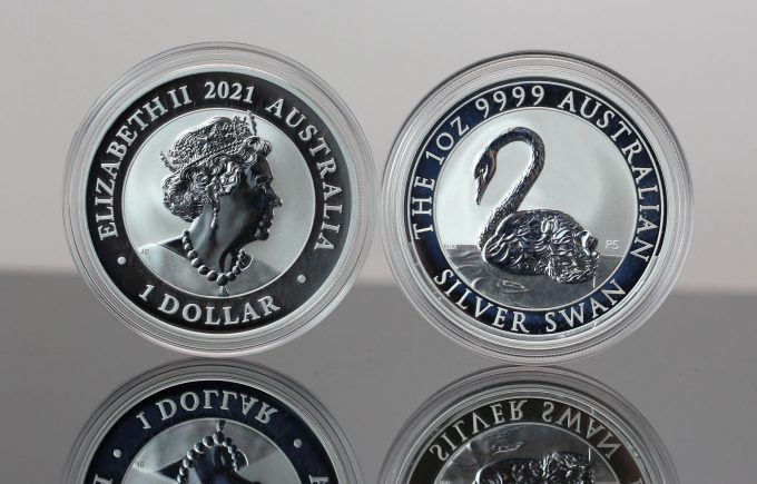 2021 Australia  Swan 1 oz Silver Bullion Coins - Obverse and Reverse