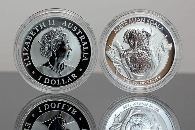 2021 Australian Koala 1oz Silver Bullion Coins - Obverse and Reverse