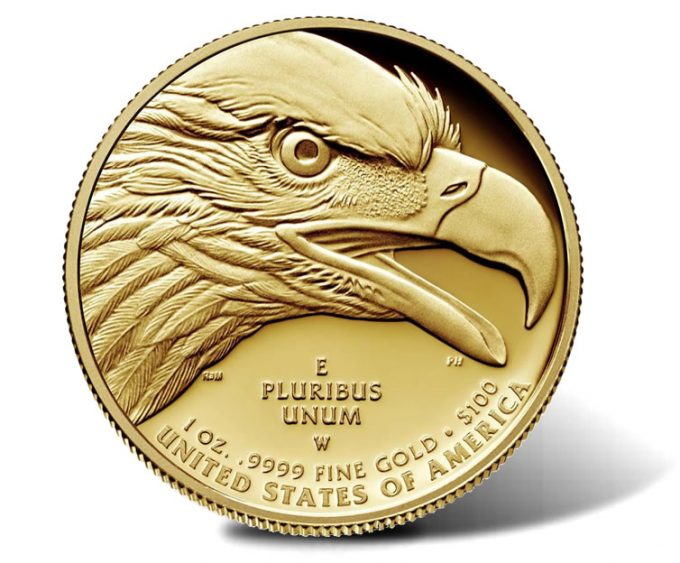 Reverse or tails side of the gold coin
