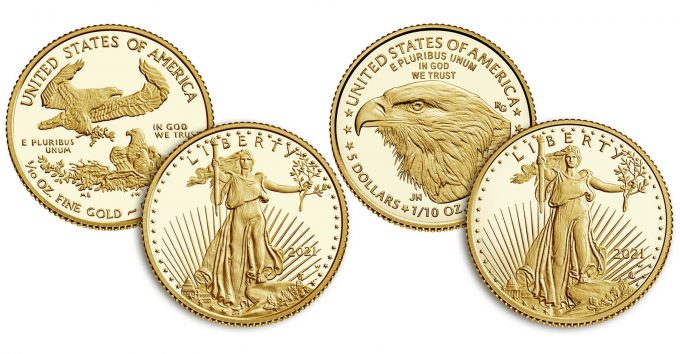 2021-W $5 Proof American Gold Eagles, Type 1 and Type 2