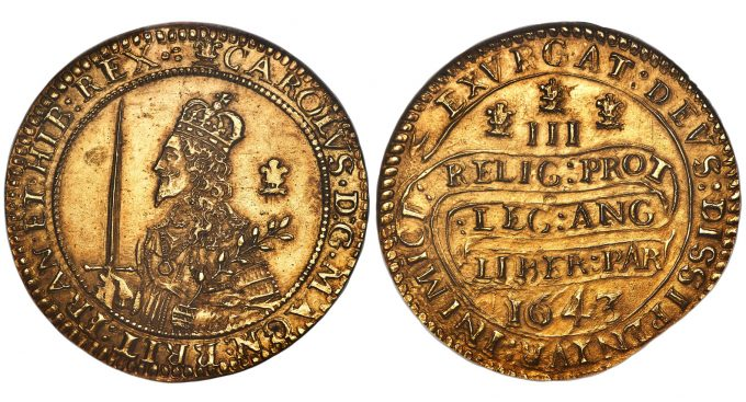 Charles I gold Triple Unite 1643