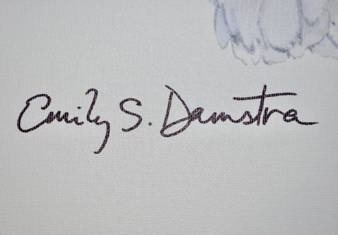 Close-up of Emily Damstra autograph on artwork