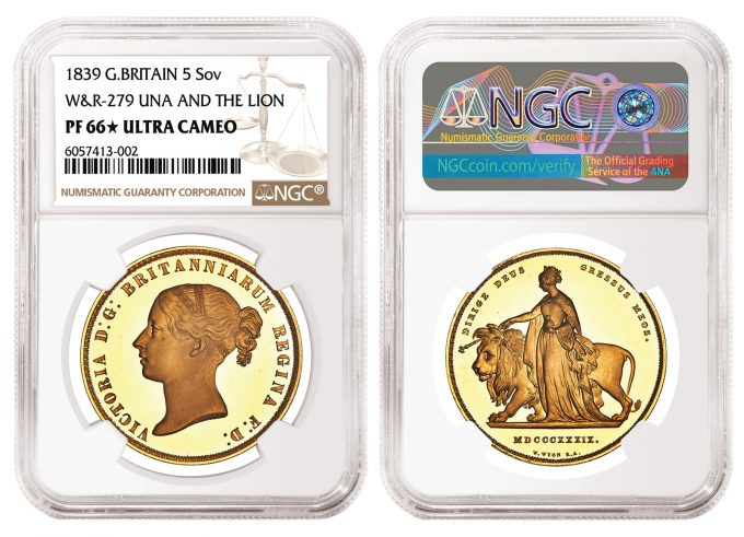 Great Britain 1839 Una and the Lion 5 Sovereign graded NGC PF 66 Star Ultra Cameo