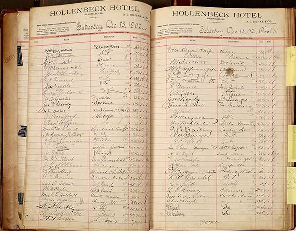 Hollenbeck Hotel registers