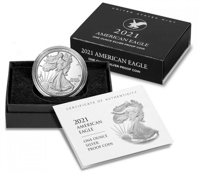 Product images of Type 2 2021-S Proof American Silver Eagle