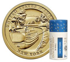 U.S. Mint image showing a roll of 2021-P New York American Innovation dollars