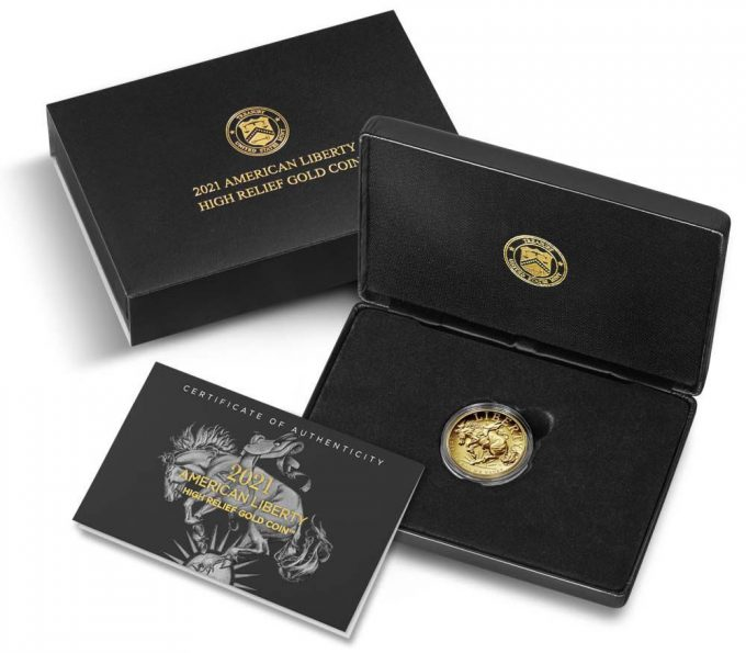 U.S. Mint product images for the 2021-W $100 Proof American Liberty High Relief Gold Coin