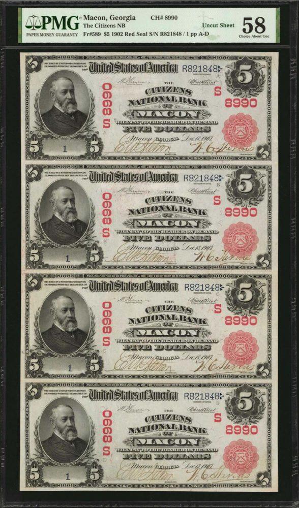 Uncut Sheet of Macon, Georgia. $5 1902 Red Sea