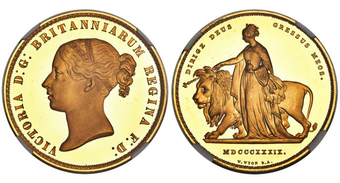 Victoria gold Proof Una and the Lion 5 Pounds 1839