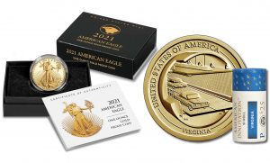 proof Gold Eagle and Virginia dollar