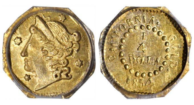 1854 Octagonal 25 Cents