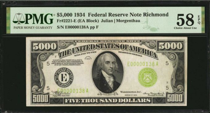 Fr. 2221-E. 1934 $5000 Federal Reserve Note. Richmond. PMG Choice About Uncirculated 58 EPQ.